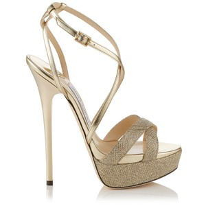Jimmy Choo Lame Giltter Liddie Platform Metallic Gold Pumps