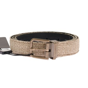 Dolce&Gabbana Beige / Gold D11027-1 Linen Leather Belt (100 Cm / 40 Inches) Groomsman Gift