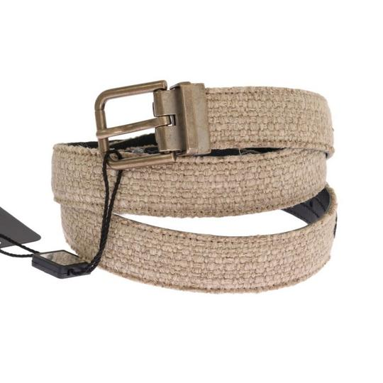 Dolce&Gabbana Beige / Gold D11027-1 Linen Leather Belt (100 Cm / 40 Inches) Groomsman Gift Image 1