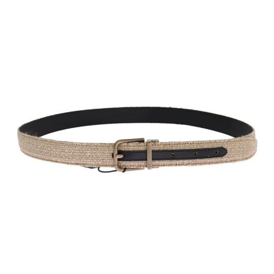 Dolce&Gabbana Beige / Gold D11027-1 Linen Leather Belt (100 Cm / 40 Inches) Groomsman Gift Image 2
