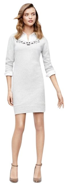 Preload https://img-static.tradesy.com/item/24442798/ann-taylor-gray-women-s-jeweled-necklace-sweatshirt-cotton-new-s-short-casual-dress-size-6-s-0-1-650-650.jpg