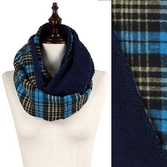 Boutique Double Sided Plaid & Faux Sherpa Infinity Scarf Image 3