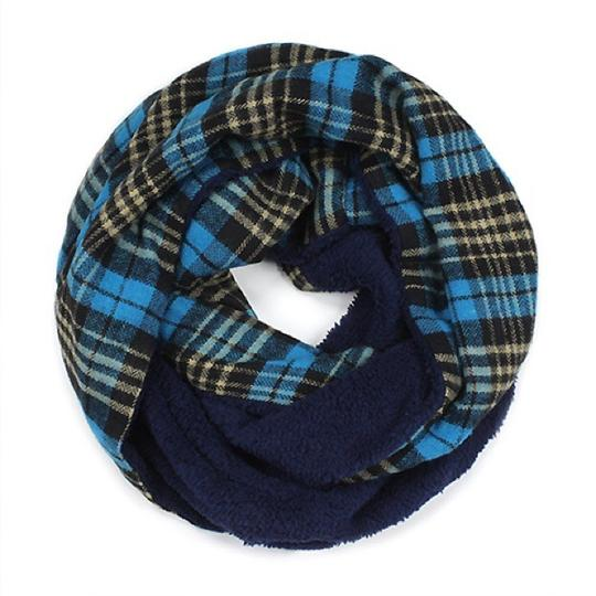 Boutique Double Sided Plaid & Faux Sherpa Infinity Scarf Image 4