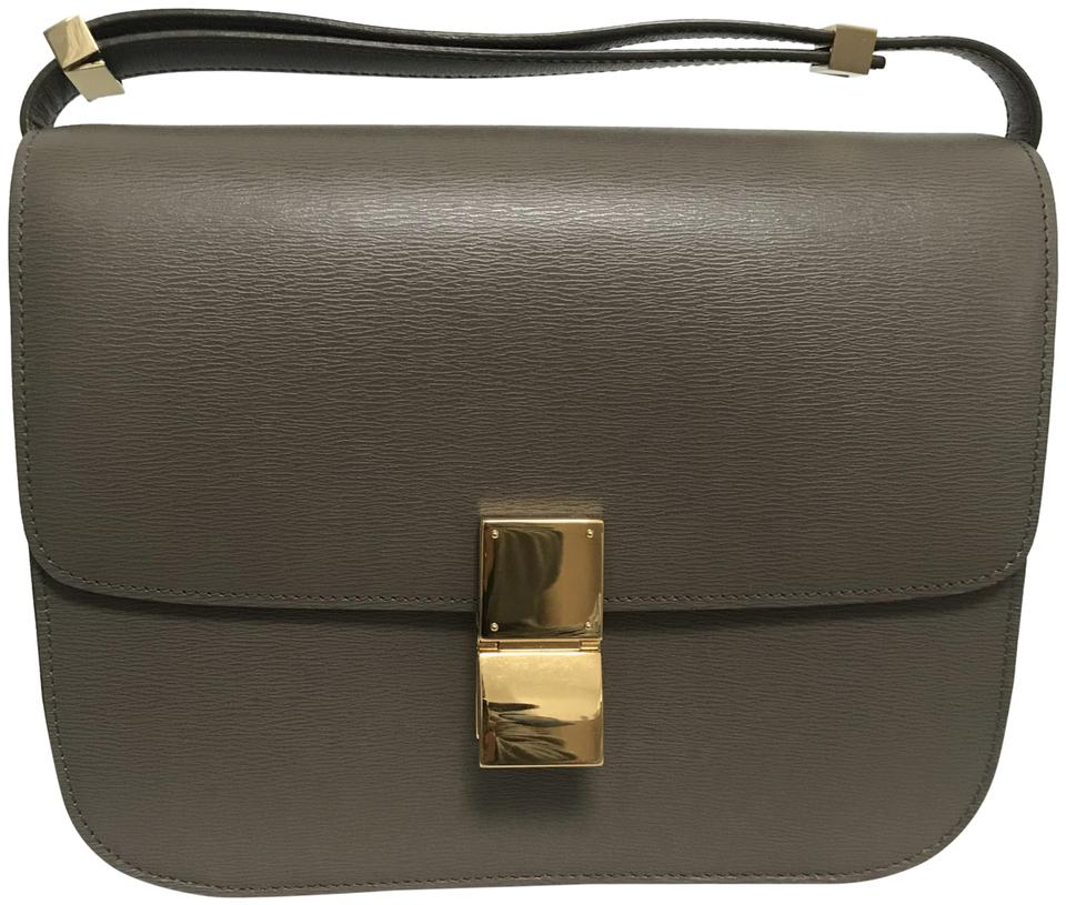 199c5569eb Céline Classic Box Classic Medium Grey Leather Shoulder Bag - Tradesy
