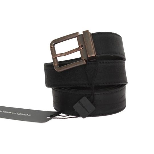 Dolce&Gabbana Black D10350-1 Leather Bronze Buckle Belt (115 Cm / 46 Inches) Groomsman Gift Image 1