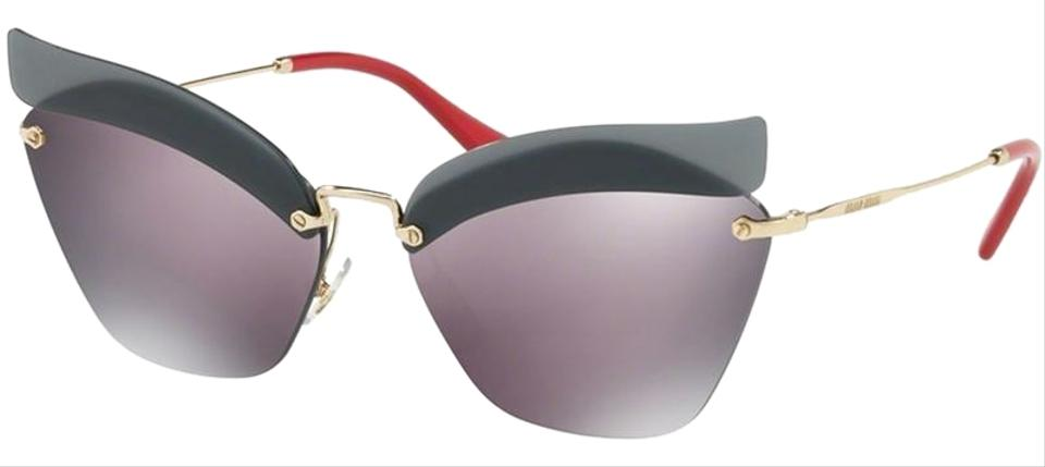 97a057ce9f63 Miu Miu Pale Gold Red Frame   Purple Mirrored Lens Mu56ts I18147 Cat Eye  Style Women s Sunglasses