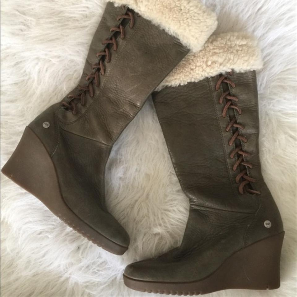 296bd8739df UGG Australia Olive Green Leather Wedge Knee High Boots/Booties Size US 7.5  Narrow (Aa, N)