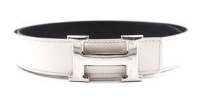 Hermès 32Mm Classic Silver H Reversible Belt leather Size 85