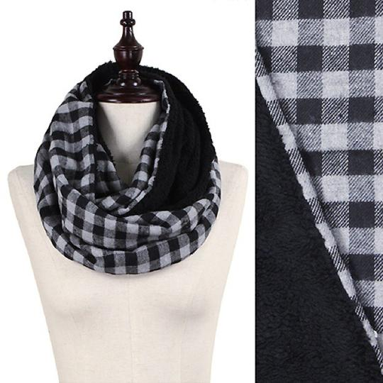 Boutique Double Sided Checker & Faux Sherpa Infinity Scarf Image 3