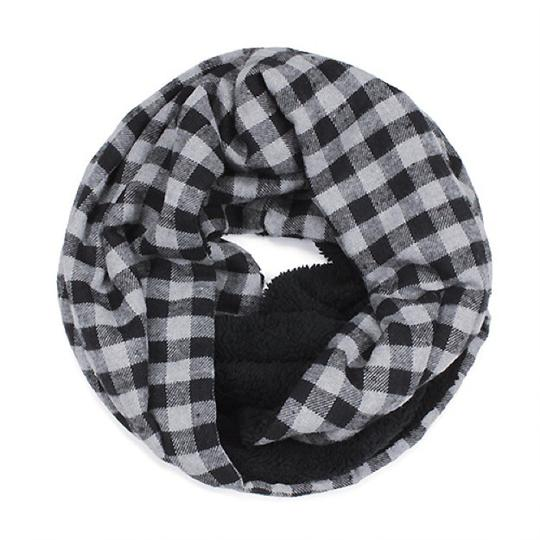Boutique Double Sided Checker & Faux Sherpa Infinity Scarf Image 4