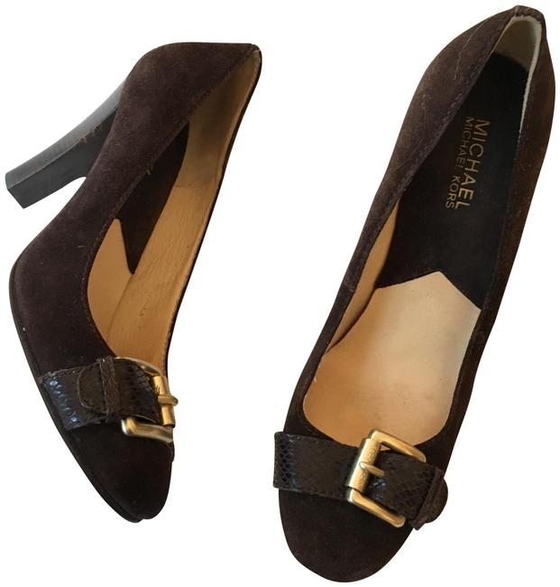 Item - Brown Suede with Snakeskin Gold Toned Buckle Pumps Size US 9.5 Regular (M, B)
