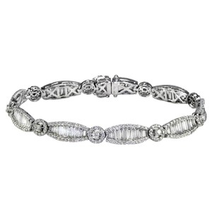 Sea Wave Diamonds Art Deco Style Diamond Tennis Bracelet