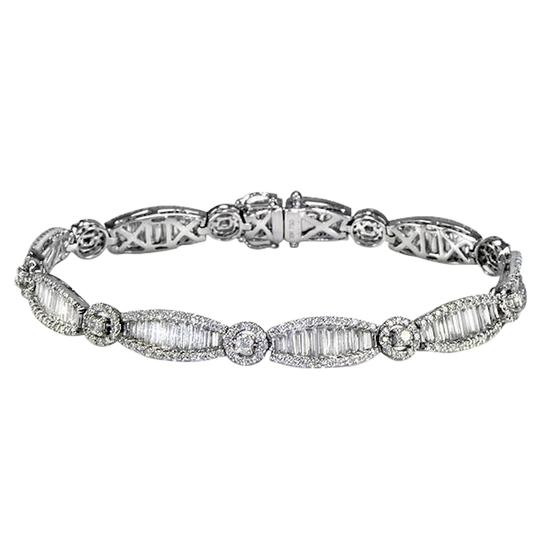 Sea Wave Diamonds Art Deco Style Diamond Tennis Bracelet Image 3