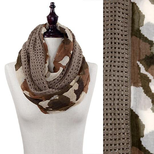Boutique Semi Knit Camouflage Print Infinity Scarf Image 2