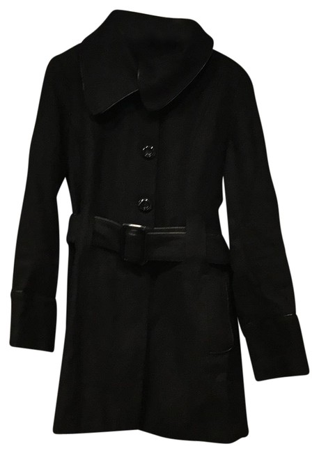 Item - Black Asymmetrical Collar Coat Size 14 (L)