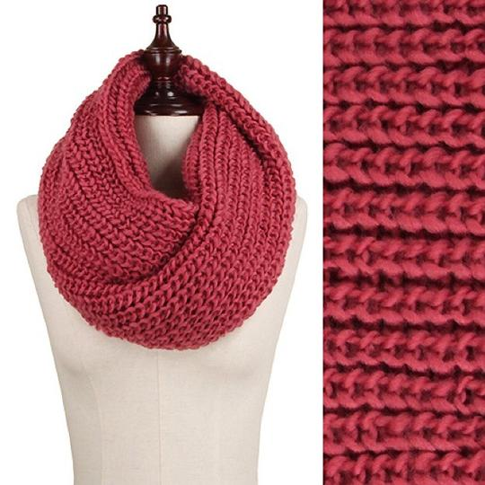 Boutique Rose Chunky Solid Rib Knit Infinity Scarf Image 1