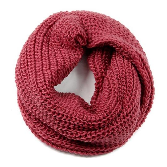 Boutique Rose Chunky Solid Rib Knit Infinity Scarf Image 2