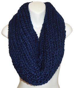 Boutique Navy Chunky Solid Rib Knit Infinity Scarf