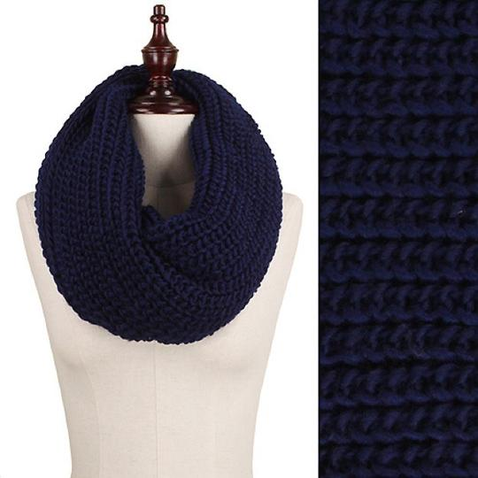 Boutique Navy Chunky Solid Rib Knit Infinity Scarf Image 2
