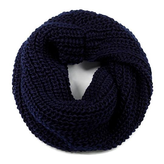Boutique Navy Chunky Solid Rib Knit Infinity Scarf Image 3