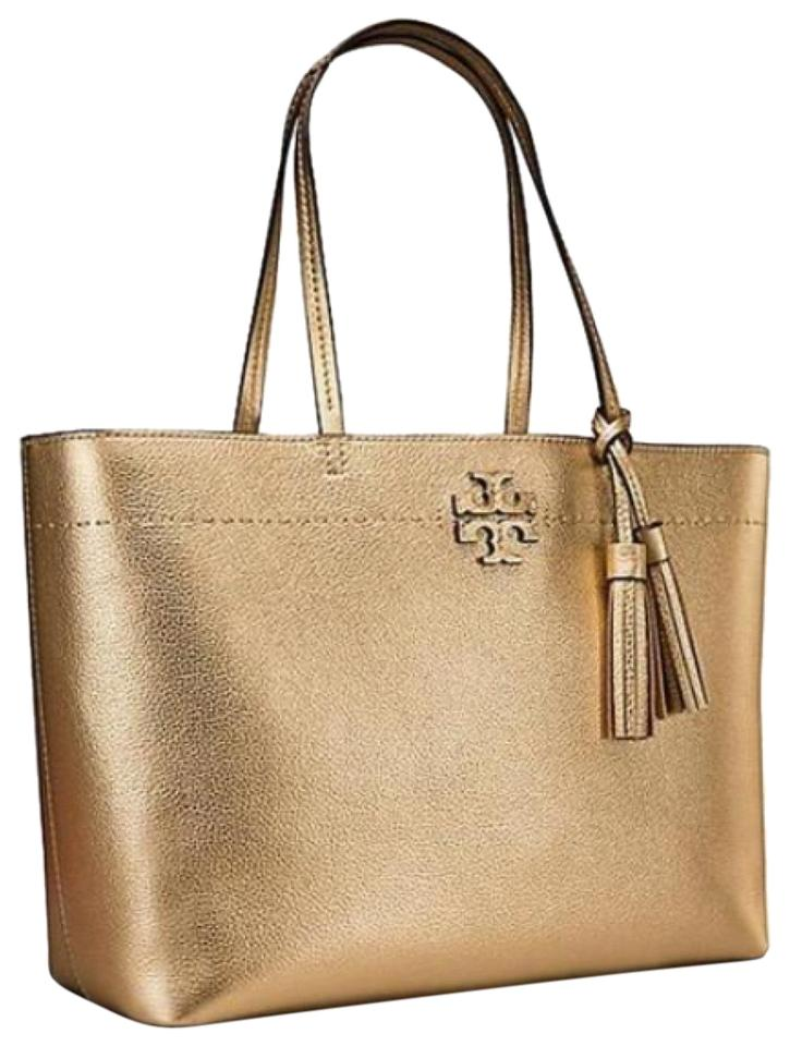 fe942b586cf Tory Burch Mcgraw Metallic Gold Leather Tote - Tradesy