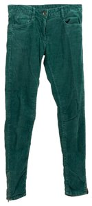 Sandro Zipper Ankle Corduroy Thin Skinny Pants Green