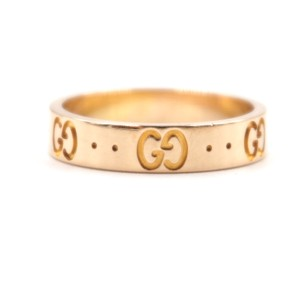 Gucci 18K Rose Pink gold GG Guccissima logo classic iconic ring