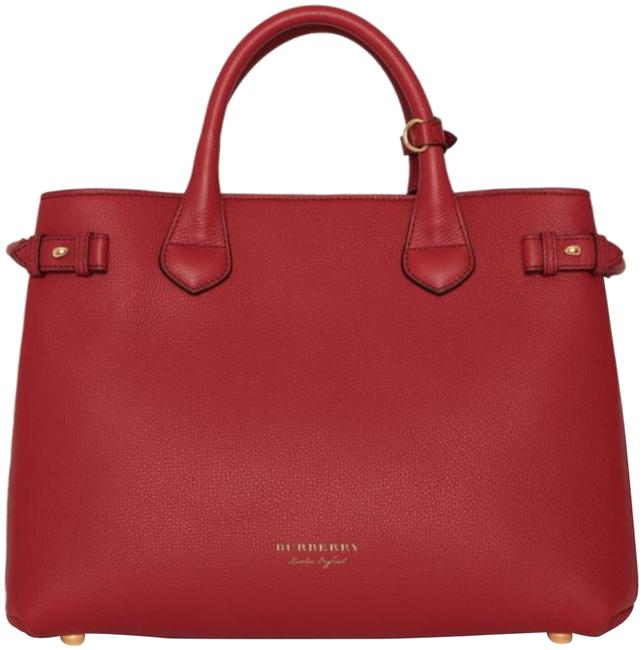 Item - The Medium Banner In Leather and House Check Russet Red Satchel