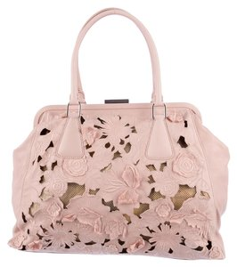 Valentino Lace Alice Frame Blush Satchel in Pink