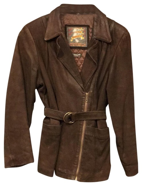 Preload https://img-static.tradesy.com/item/24443311/wilsons-leather-brown-asymmetrical-zip-belted-jacket-size-14-l-0-1-650-650.jpg