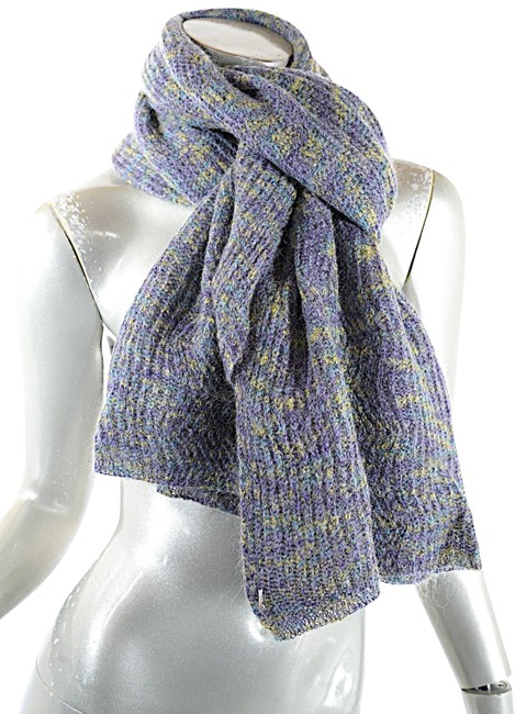 Item - Blue Yellow Purple Foulard Nicely Woven Mohair Wool Scarf/Wrap