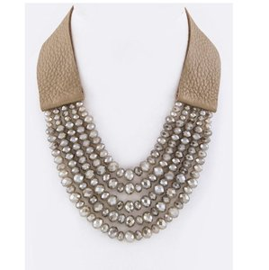 Other Genuine Leather Layer Beads Leather Necklace