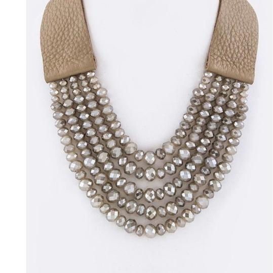 Other Genuine Leather Layer Beads Leather Necklace Image 1