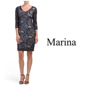 Marina Evening Navy Cut Out Back Sheath Dress