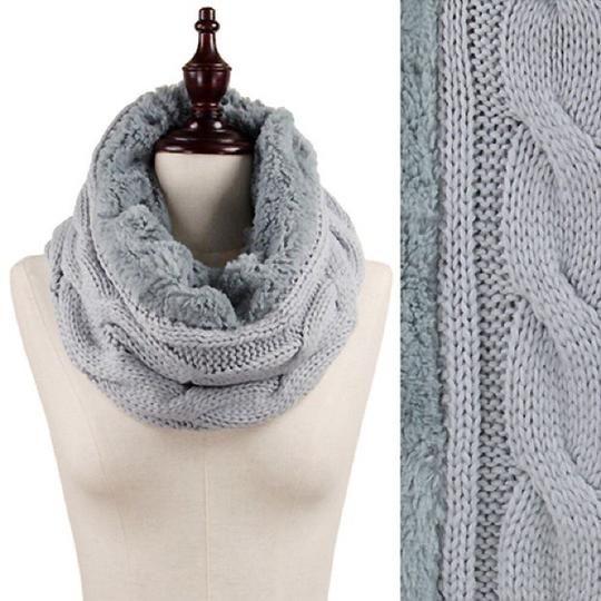 Boutique Chunky Solid Cable Knitted & Faux Fur Infinity Scarf Image 3