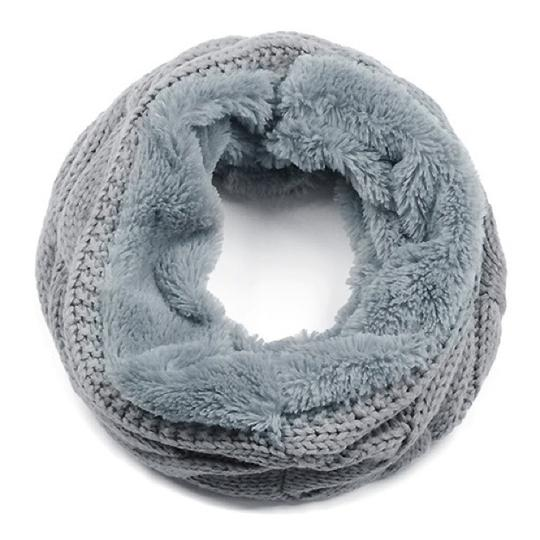 Boutique Chunky Solid Cable Knitted & Faux Fur Infinity Scarf Image 4
