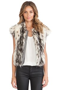 Twelfth St. by Cynthia Vincent Faux Fur Chainmail Vest Two-tone Chain Jacket