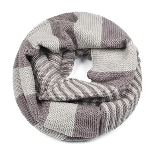 Boutique Chunky Two Tone Colorblock Knit Infinity Scarf, Taupe/Gray Image 2