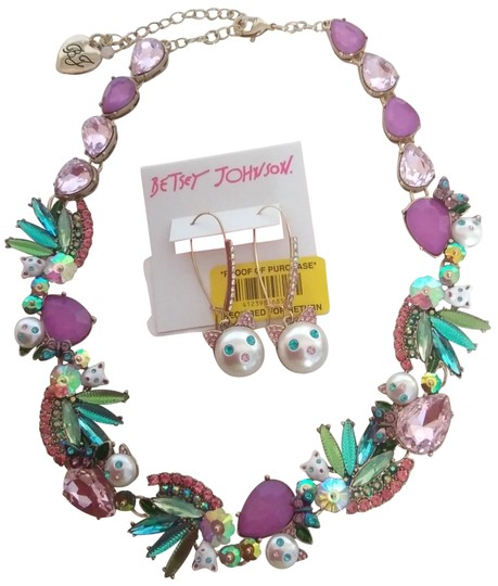 Betsey Johnson Betsey Johnson New Kitten Necklace and Earrings Image 0