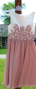 JJ's House Dusty Rose Chiffon Satin A-line/Scoop Neck Knee-length Feminine Bridesmaid/Mob Dress Size 6 (S)