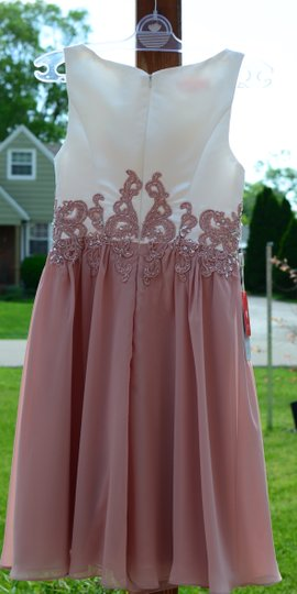 JJ's House Dusty Rose Chiffon Satin A-line/Scoop Neck Knee-length Feminine Bridesmaid/Mob Dress Size 6 (S) Image 5