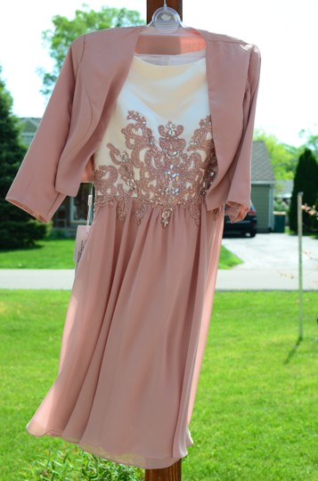 JJ's House Dusty Rose Chiffon Satin A-line/Scoop Neck Knee-length Feminine Bridesmaid/Mob Dress Size 6 (S) Image 7