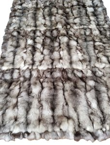 Unbranded Silver Fox Indigo Large Fur Blanket / Fur Throw /Bedspread 70X99