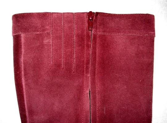 Boden Genuine Leather Suede Made In Italy Burgundy Boots Image 5