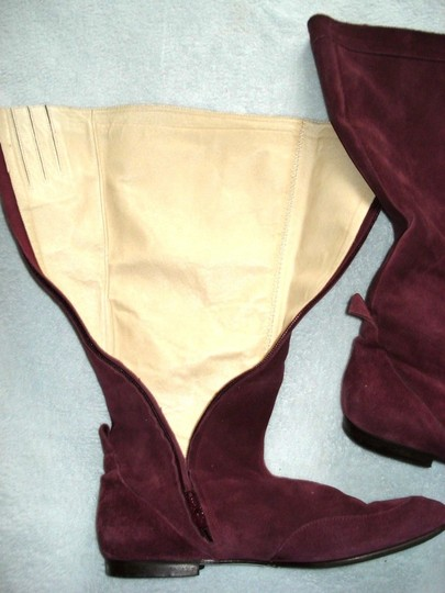 Boden Genuine Leather Suede Made In Italy Burgundy Boots Image 9