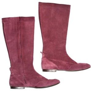 Boden Genuine Leather Suede Made In Italy Burgundy Boots