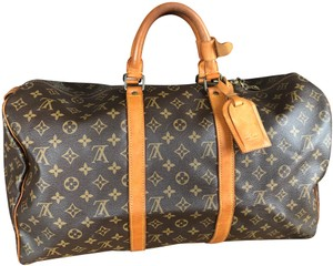 Louis Vuitton 50 Keepall Lv Boston Brown Monogram Travel Bag