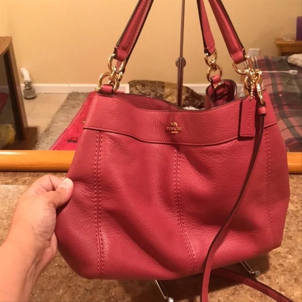 f2c569b247d7 Coach Lexy Pebbled Small Rouge Tote Shoulder Pink Leather Cross Body ...
