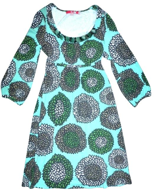 Boden Aqua Chrysanthemum Print Jeweled Scoop Neck Mid-length Night Out Dress Size 2 (XS) Boden Aqua Chrysanthemum Print Jeweled Scoop Neck Mid-length Night Out Dress Size 2 (XS) Image 1