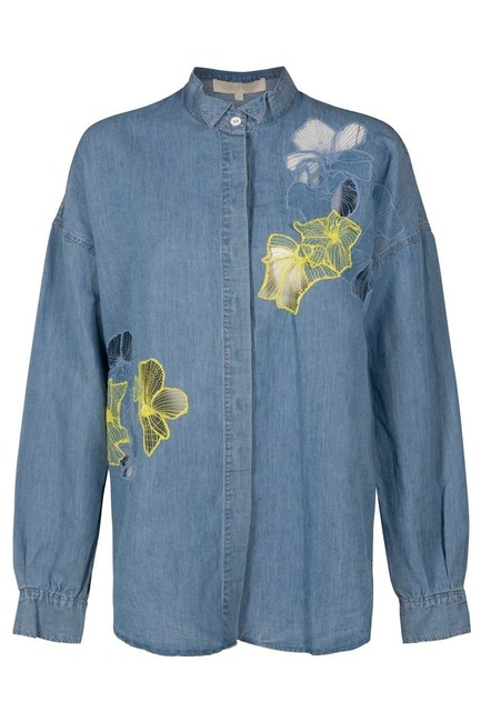 Vanessa Bruno Embelished Button Down Shirt Denim Blue Image 1